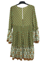 Green Large Size Ladies Clothes Outsize Womens Clothing With Flare Sleeve And White Trim