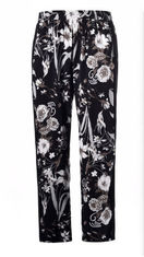 Flower Printed Ladies Slim Fit Trousers Women Long Straight Trouser With Elastic Waistband