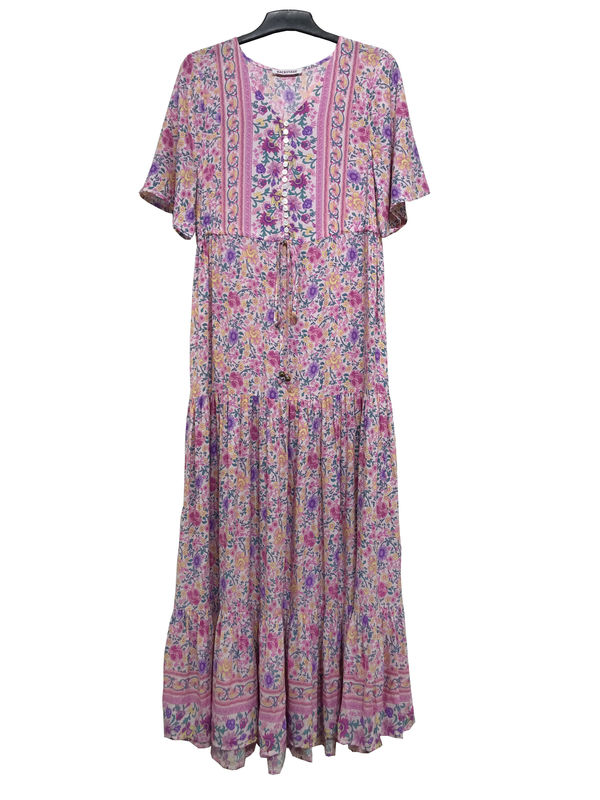 Printed Custom Womens Dresses Long Flounce Lavender Dresses With Front Buttons