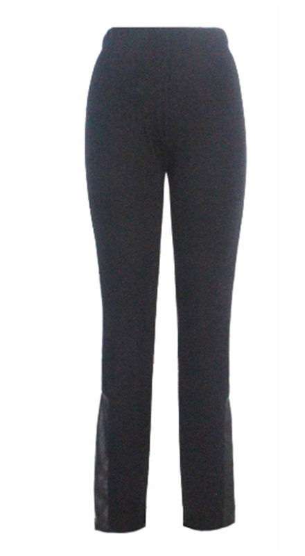 Long Ladies Skinny Trousers Womens Straight Leg Trousers With Pu Back Patch Design