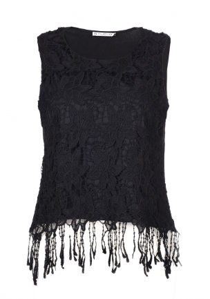 Beautiful Ladies Fashion Tops Black Sexy Lace Sleeveless Tops Polyester Material